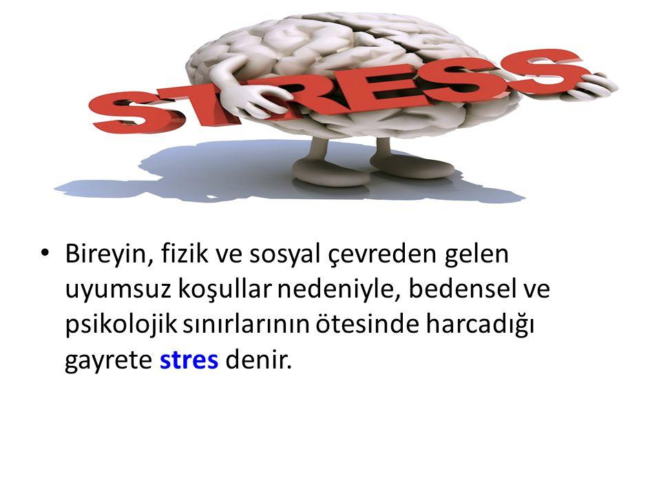 Bireyin, fizik ve sosyal çevreden gelen uyumsuz koşullar nedeniyle, bedensel ve psikolojik sınırlarının ötesinde harcadığı gayrete stres denir.