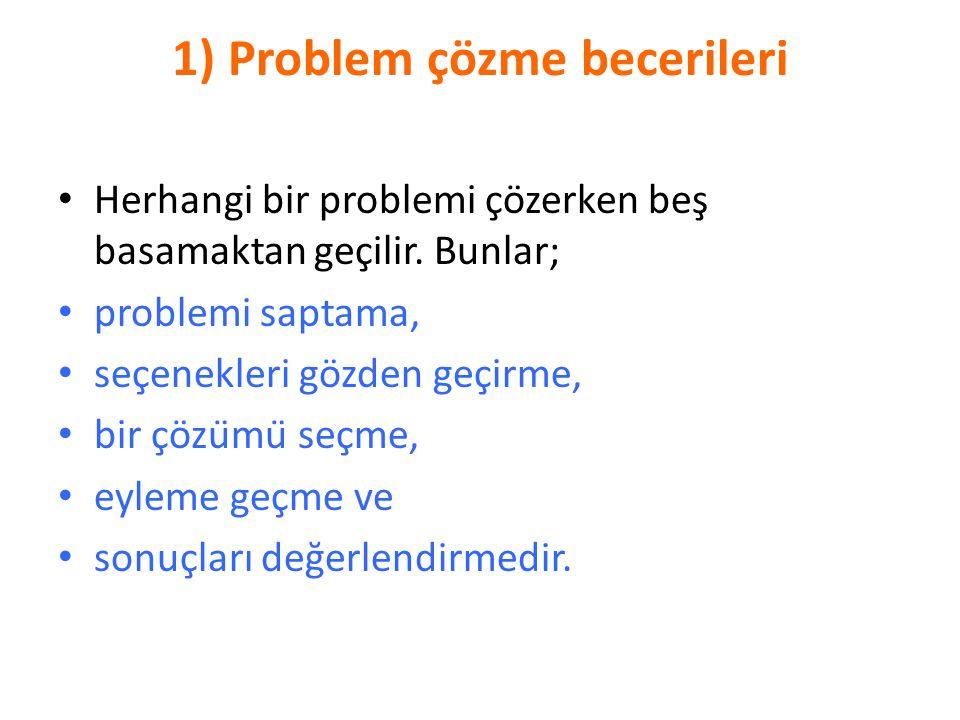 1) Problem çözme becerileri Herhangi bir problemi çözerken beş basamaktan geçilir. Bunlar; problemi saptama, seçenekleri gözden geçirme, bir çözümü