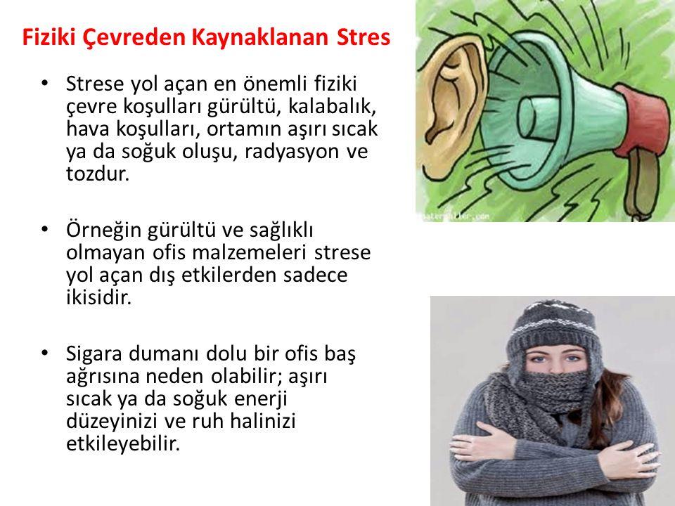 Fiziki Çevreden Kaynaklanan Stres Strese yol açan en önemli fiziki çevre koşulları gürültü, kalabalık, hava koşulları, ortamın aşırı sıcak ya da so