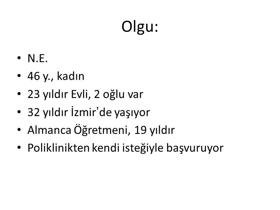 Olgu: N.E. 46 y., kadın 23 yıldır Evli, 2 oğlu var 32 yıldır İzmir ' de yaşıyor Almanca Öğretmeni, 19 yıldır Poliklinikten kendi isteğiyle başvuruyor
