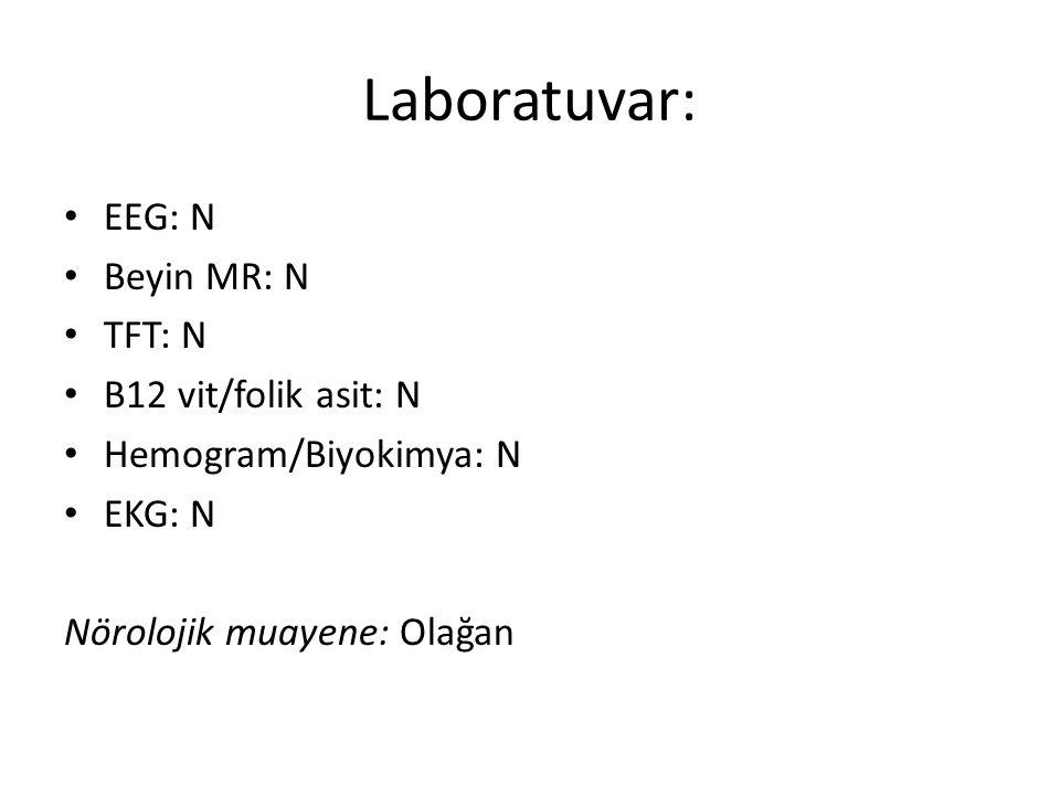 Laboratuvar: EEG: N Beyin MR: N TFT: N B12 vit/folik asit: N Hemogram/Biyokimya: N EKG: N Nörolojik muayene: Olağan