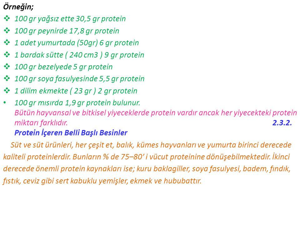 Örneğin;  100 gr yağsız ette 30,5 gr protein  100 gr peynirde 17,8 gr protein  1 adet yumurtada (50gr) 6 gr protein  1 bardak sütte ( 240 cm3 ) 9