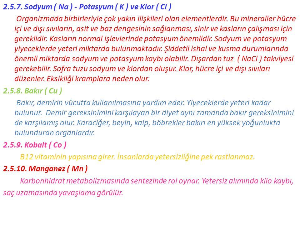 2.5.7. Sodyum ( Na ) - Potasyum ( K ) ve Klor ( Cl ) Organizmada birbirleriyle çok yakın ilişkileri olan elementlerdir. Bu mineraller hücre içi ve dış