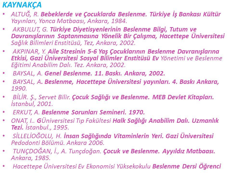 KAYNAKÇA ALTUĞ, R. Bebeklerde ve Çocuklarda Beslenme. Türkiye İş Bankası Kültür Yayınları, Yonca Matbaası, Ankara, 1984. AKBULUT, G. Türkiye Diyetisye