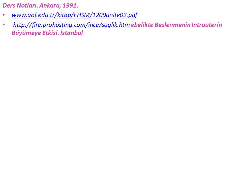 Ders Notları. Ankara, 1991. www.aof.edu.tr/kitap/EHSM/1209unite02.pdf http://fire.prohosting.com/ince/saglik.htm ebelikte Beslenmenin İntrauterin Büyü