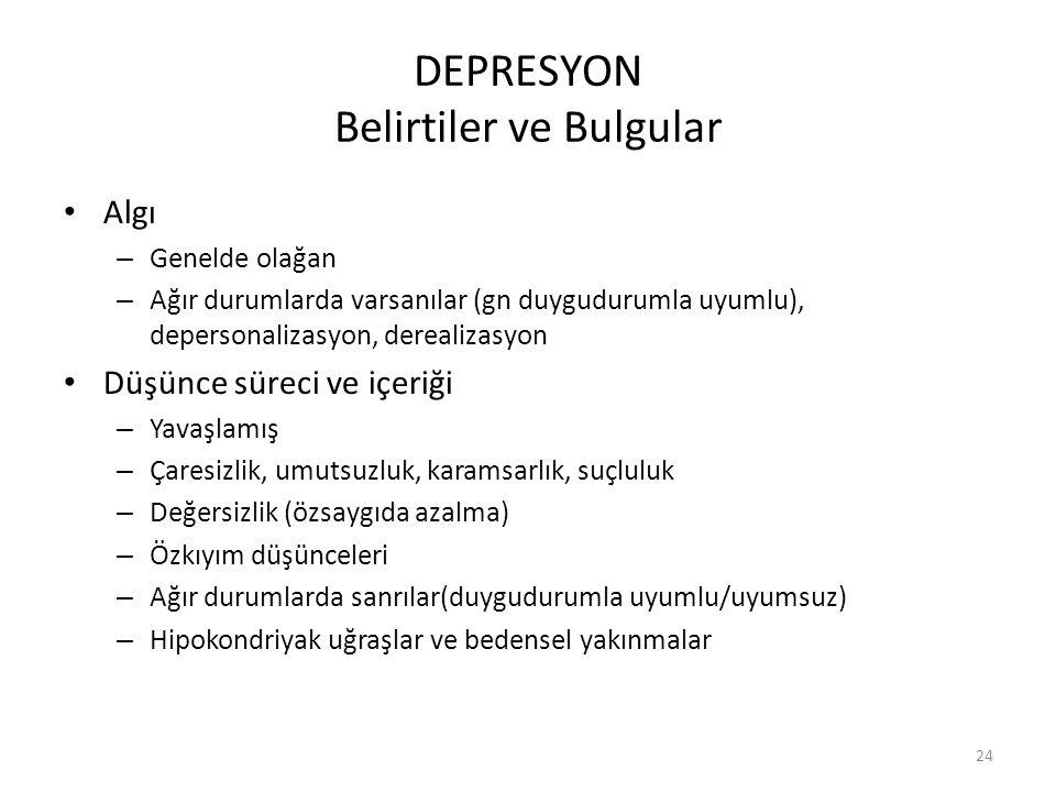 24 DEPRESYON Belirtiler ve Bulgular Algı – Genelde olağan – Ağır durumlarda varsanılar (gn duygudurumla uyumlu), depersonalizasyon, derealizasyon Düşü
