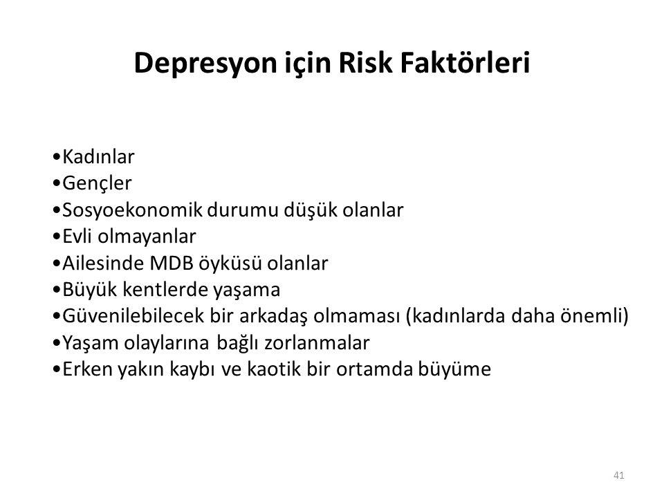 41 Depresyon için Risk Faktörleri Kadınlar Gençler Sosyoekonomik durumu düşük olanlar Evli olmayanlar Ailesinde MDB öyküsü olanlar Büyük kentlerde yaş