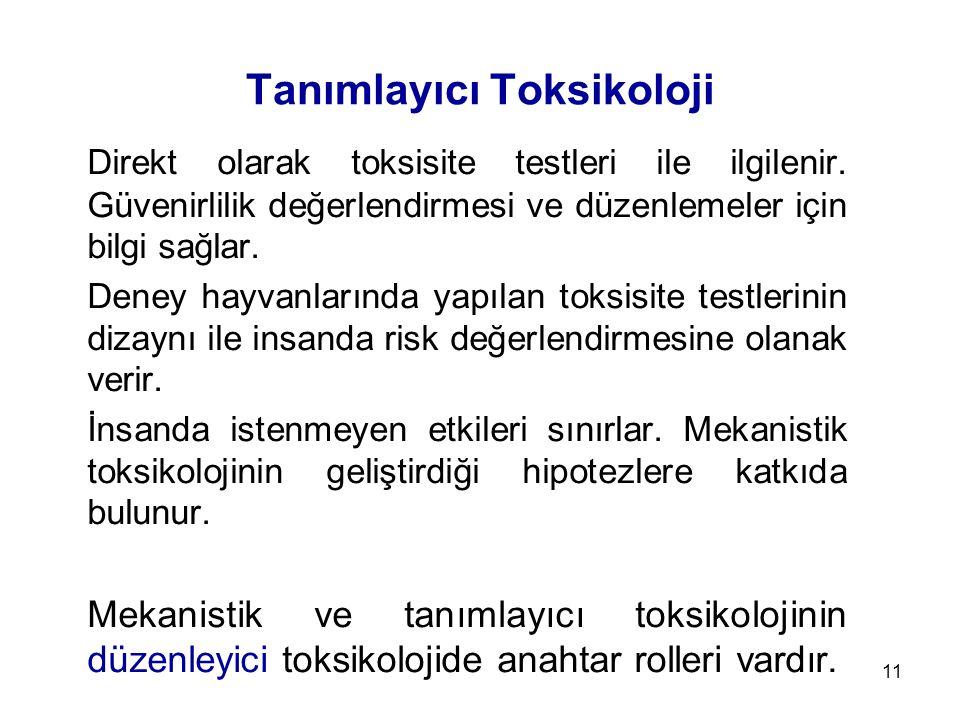 11 Tanımlayıcı Toksikoloji Direkt olarak toksisite testleri ile ilgilenir.