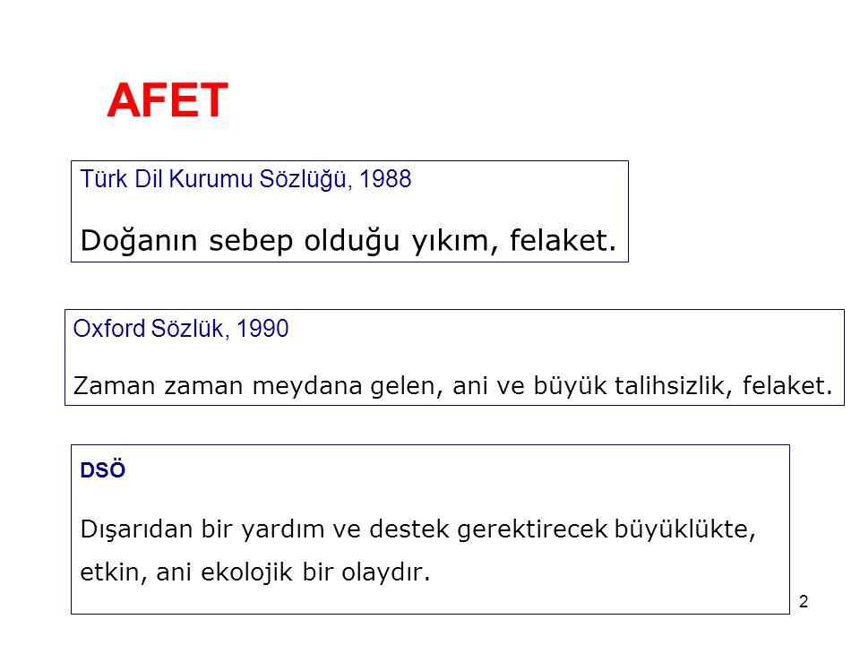 2 AFET DSÖ Dışarıdan bir yardım ve destek gerektirecek büyüklükte, etkin, ani ekolojik bir olaydır. Türk Dil Kurumu Sözlüğü, 1988 Doğanın sebep olduğu