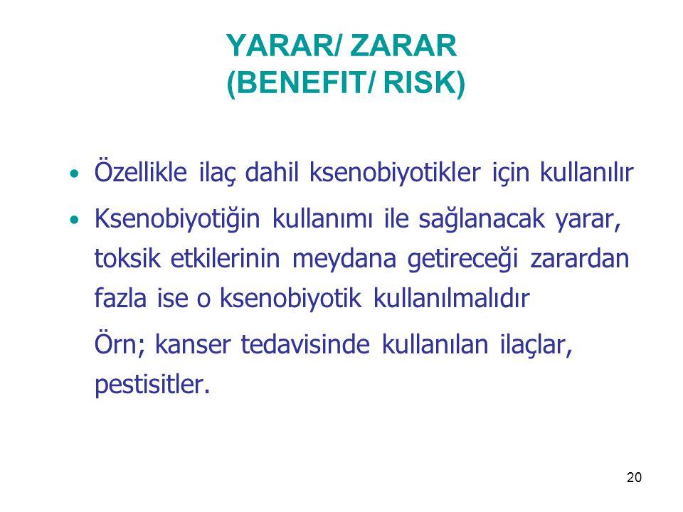 20 YARAR/ ZARAR (BENEFIT/ RISK) Özellikle ilaç dahil ksenobiyotikler için kullanılır Ksenobiyotiğin kullanımı ile sağlanacak yarar, toksik etkilerinin meydana getireceği zarardan fazla ise o ksenobiyotik kullanılmalıdır Örn; kanser tedavisinde kullanılan ilaçlar, pestisitler.