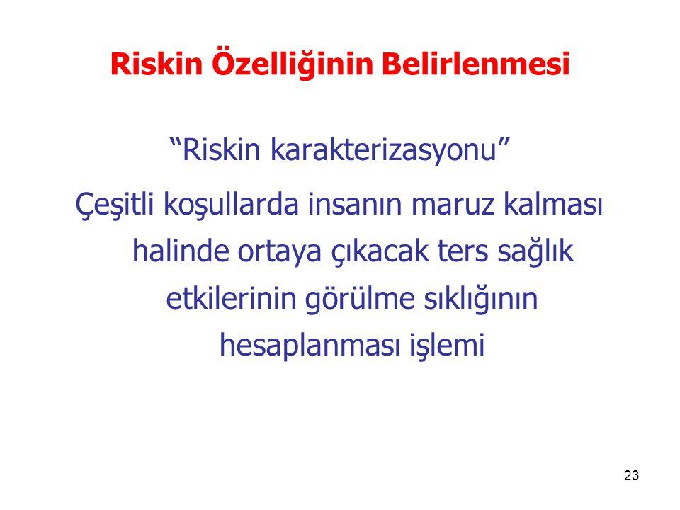 """23 Riskin Özelliğinin Belirlenmesi """"Riskin karakterizasyonu"""" Çeşitli koşullarda insanın maruz kalması halinde ortaya çıkacak ters sağlık etkilerinin g"""