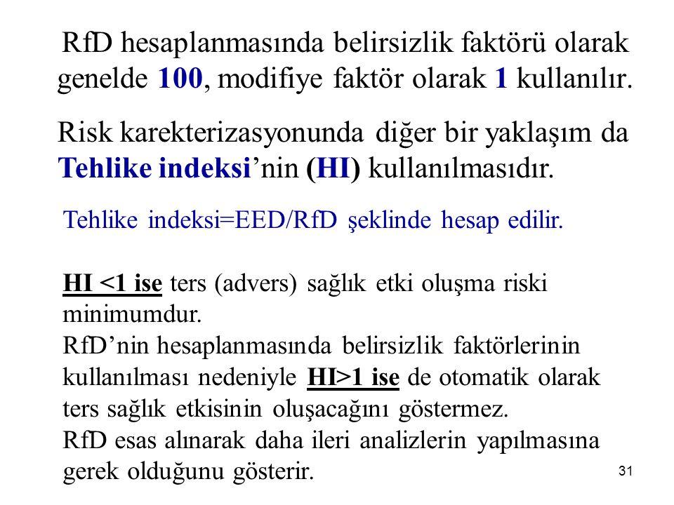 31 RfD hesaplanmasında belirsizlik faktörü olarak genelde 100, modifiye faktör olarak 1 kullanılır.
