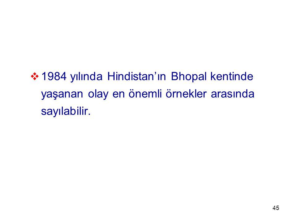 45  1984 yılında Hindistan'ın Bhopal kentinde yaşanan olay en önemli örnekler arasında sayılabilir.