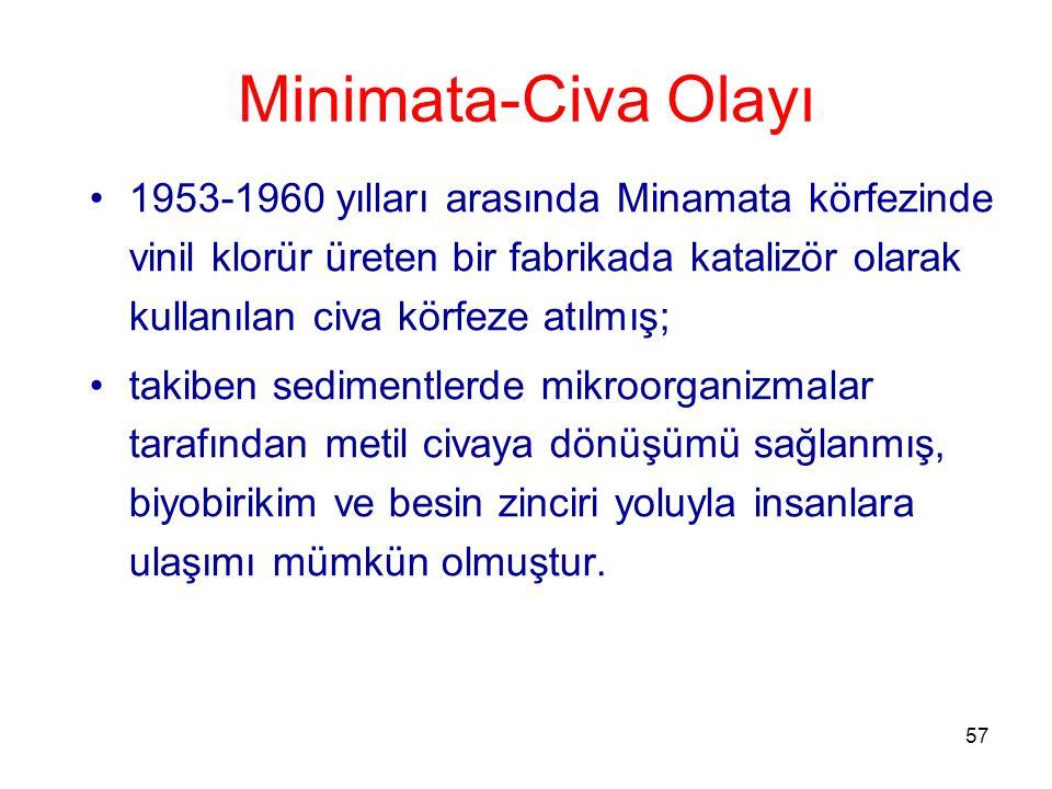 57 Minimata-Civa Olayı 1953-1960 yılları arasında Minamata körfezinde vinil klorür üreten bir fabrikada katalizör olarak kullanılan civa körfeze atılmış; takiben sedimentlerde mikroorganizmalar tarafından metil civaya dönüşümü sağlanmış, biyobirikim ve besin zinciri yoluyla insanlara ulaşımı mümkün olmuştur.