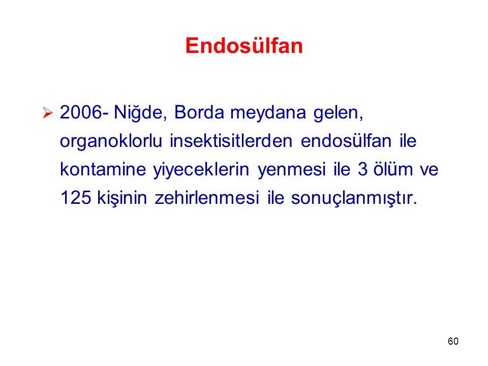 60 Endosülfan  2006- Niğde, Borda meydana gelen, organoklorlu insektisitlerden endos ü lfan ile kontamine yiyeceklerin yenmesi ile 3 ö l ü m ve 125 kişinin zehirlenmesi ile sonuçlanmıştır.
