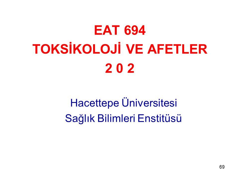 69 EAT 694 TOKSİKOLOJİ VE AFETLER 2 0 2 Hacettepe Üniversitesi Sağlık Bilimleri Enstitüsü