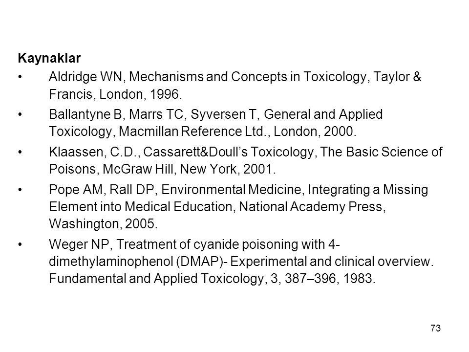 73 Kaynaklar Aldridge WN, Mechanisms and Concepts in Toxicology, Taylor & Francis, London, 1996.