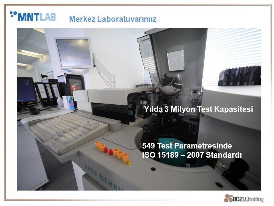Yılda 3 Milyon Test Kapasitesi 549 Test Parametresinde ISO 15189 – 2007 Standardı Merkez Laboratuvarımız