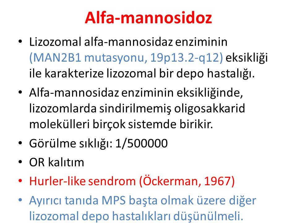 Alfa-mannosidoz Lizozomal alfa-mannosidaz enziminin (MAN2B1 mutasyonu, 19p13.2-q12) eksikliği ile karakterize lizozomal bir depo hastalığı. Alfa-manno