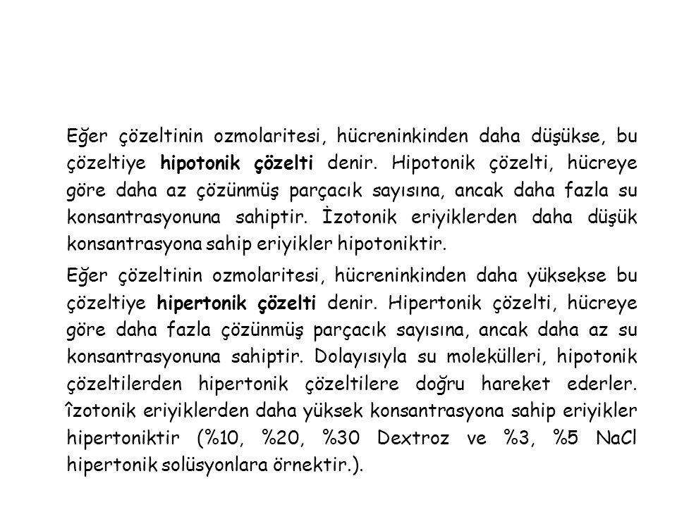 Eğer çözeltinin ozmolaritesi, hücreninkinden daha düşükse, bu çözeltiye hipotonik çözelti denir.