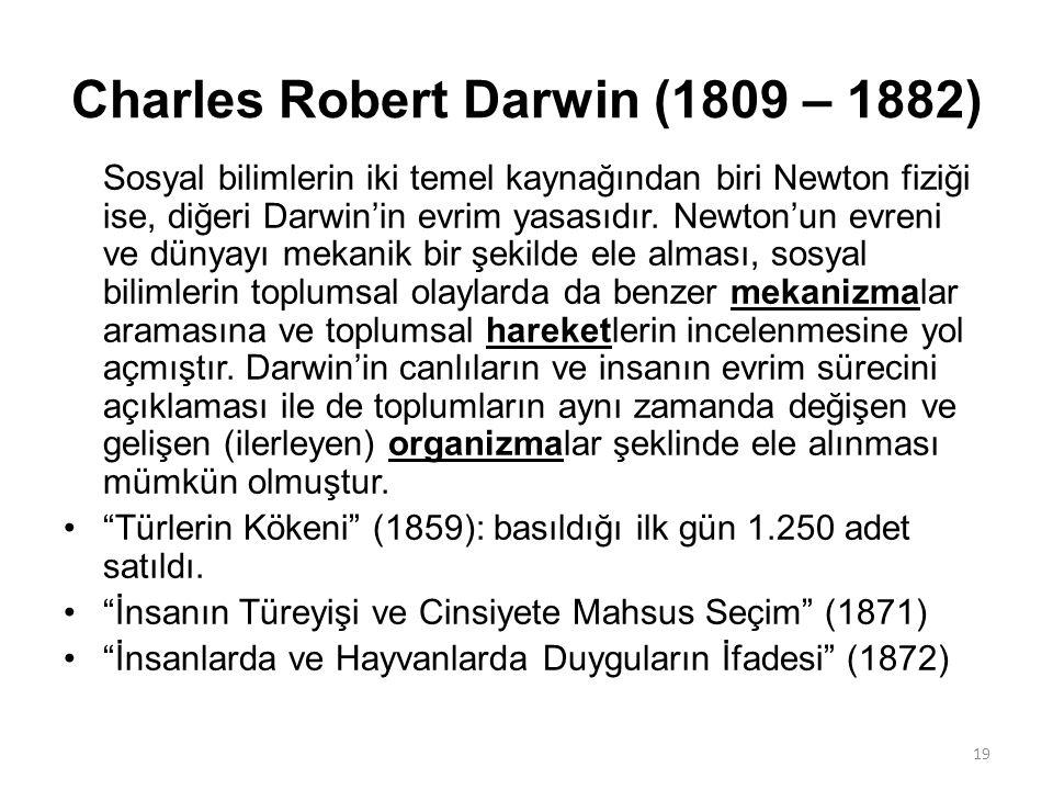 Charles Robert Darwin (1809 – 1882) Sosyal bilimlerin iki temel kaynağından biri Newton fiziği ise, diğeri Darwin'in evrim yasasıdır. Newton'un evreni