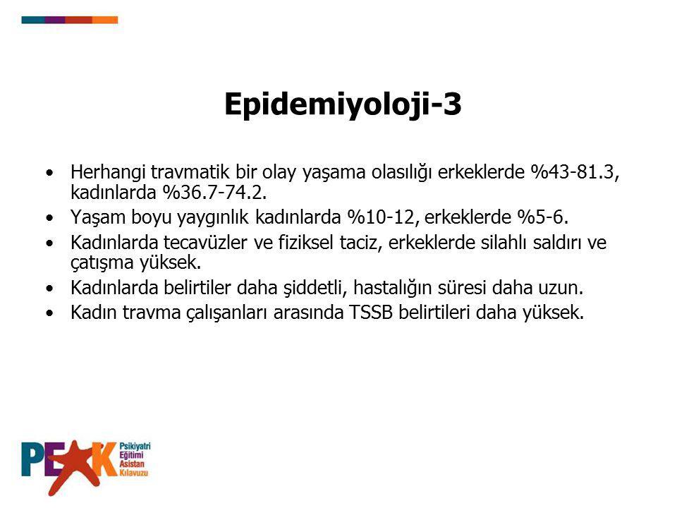 Epidemiyoloji-3 Herhangi travmatik bir olay yaşama olasılığı erkeklerde %43-81.3, kadınlarda %36.7-74.2. Yaşam boyu yaygınlık kadınlarda %10-12, erkek