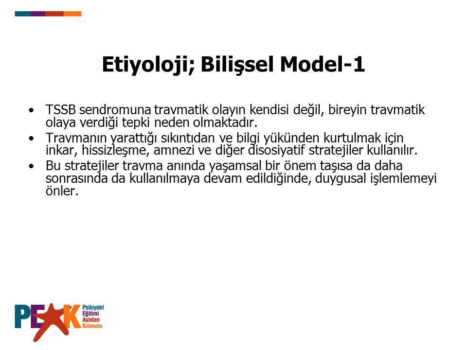 Etiyoloji; Bilişsel Model-1 TSSB sendromuna travmatik olayın kendisi değil, bireyin travmatik olaya verdiği tepki neden olmaktadır. Travmanın yarattığ