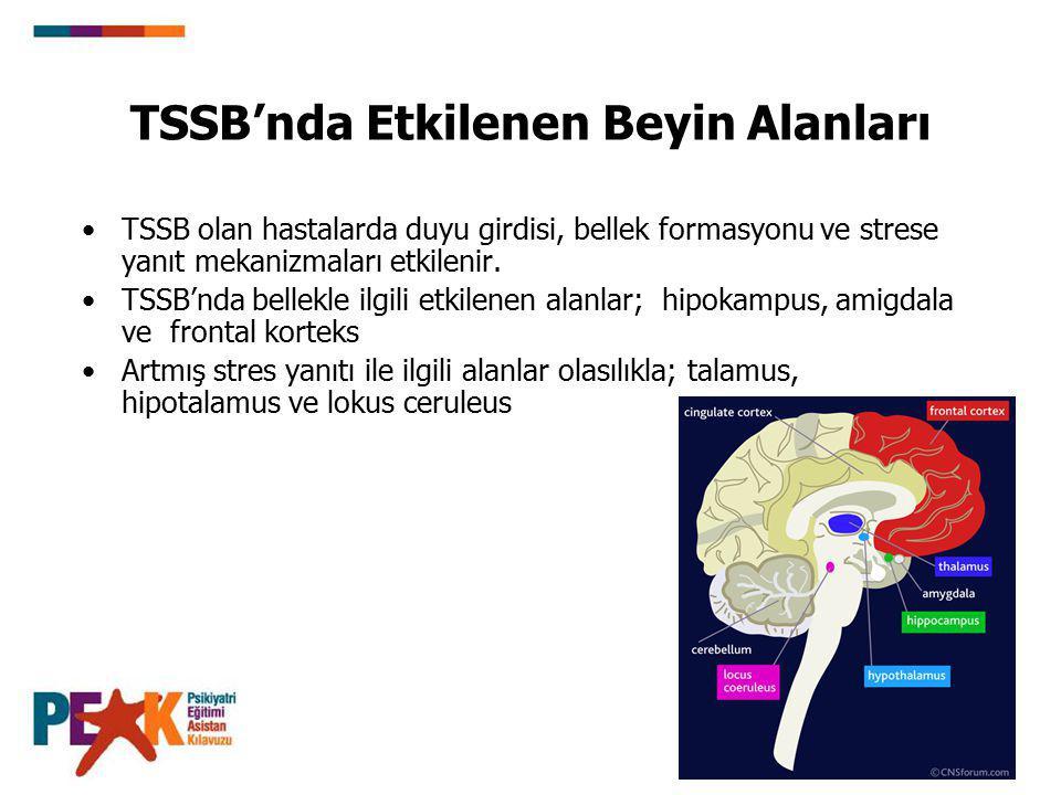TSSB'nda Etkilenen Beyin Alanları TSSB olan hastalarda duyu girdisi, bellek formasyonu ve strese yanıt mekanizmaları etkilenir. TSSB'nda bellekle ilgi