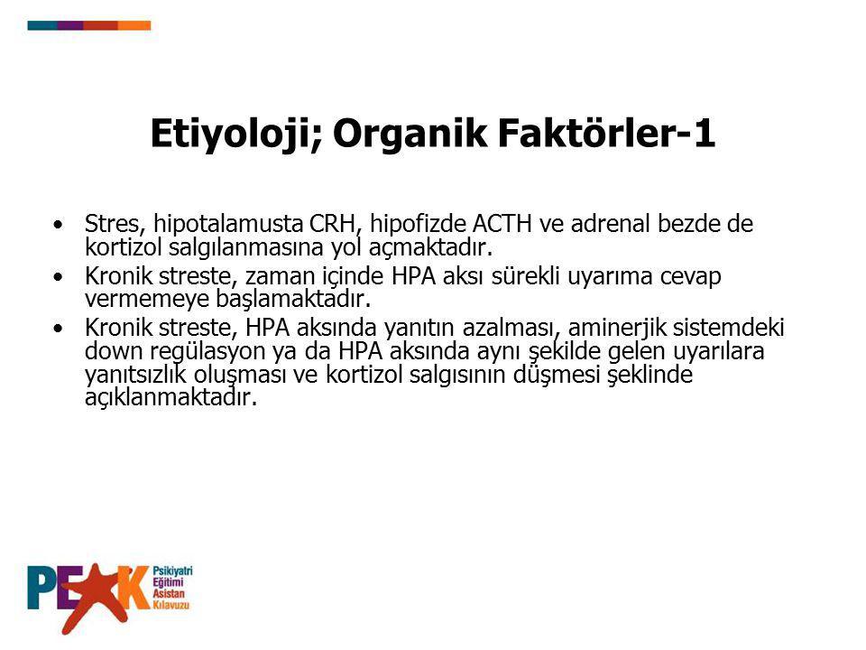 Etiyoloji; Organik Faktörler-1 Stres, hipotalamusta CRH, hipofizde ACTH ve adrenal bezde de kortizol salgılanmasına yol açmaktadır. Kronik streste, za