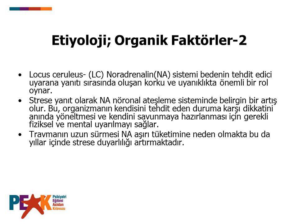 Etiyoloji; Organik Faktörler-2 Locus ceruleus- (LC) Noradrenalin(NA) sistemi bedenin tehdit edici uyarana yanıtı sırasında oluşan korku ve uyanıklıkta