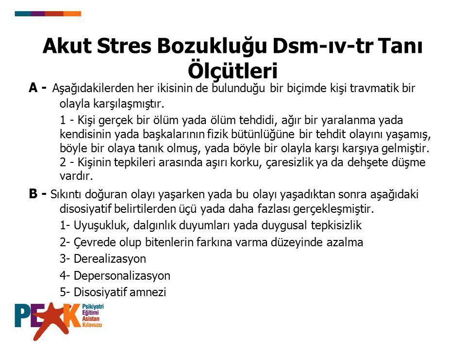 Akut Stres Bozukluğu Dsm-ıv-tr Tanı Ölçütleri A - Aşağıdakilerden her ikisinin de bulunduğu bir biçimde kişi travmatik bir olayla karşılaşmıştır. 1 -