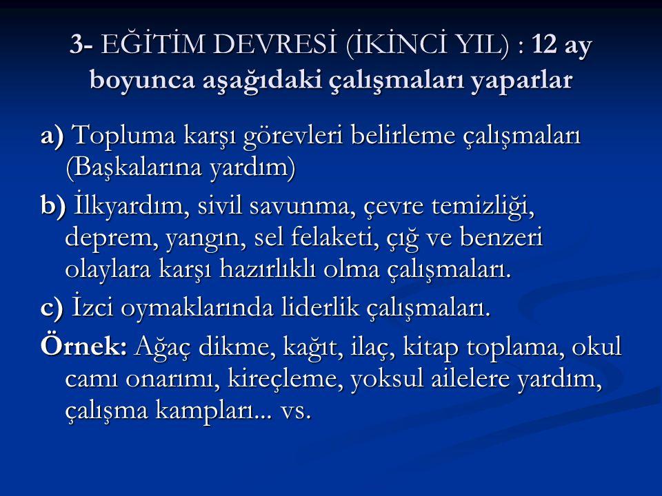 4 - HİZMET DEVRESİ 4 - HİZMET DEVRESİ Çevreye ve topluma yardımcı, Türkiye İzcilik Örgütüne yararlı olma amacıyla yapılacak çalışmalardır.