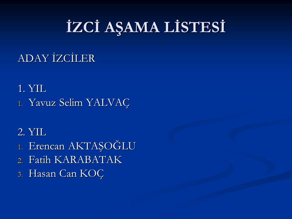İZCİ AŞAMA LİSTESİ ADAY İZCİLER 1.YIL 1. Yavuz Selim YALVAÇ 2.