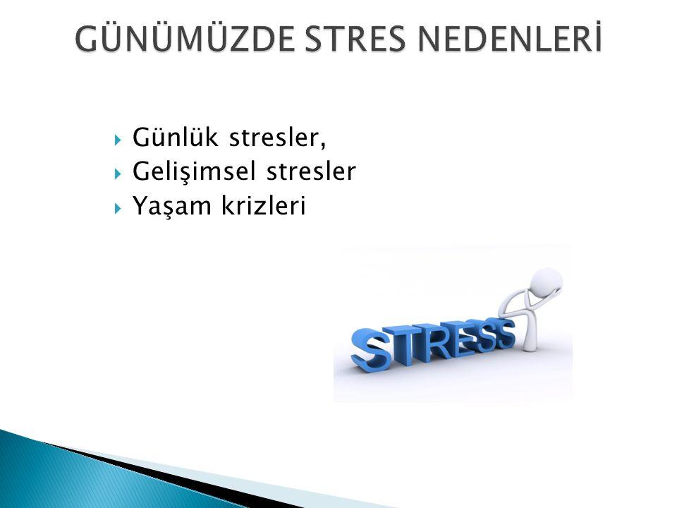  Günlük stresler,  Gelişimsel stresler  Yaşam krizleri