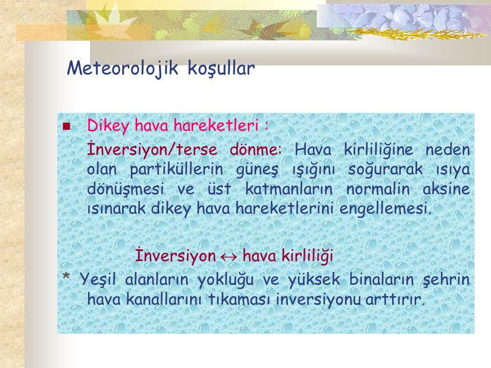 Meteorolojik koşullar Dikey hava hareketleri : İnversiyon/terse dönme: Hava kirliliğine neden olan partiküllerin güneş ışığını soğurarak ısıya dönüşme