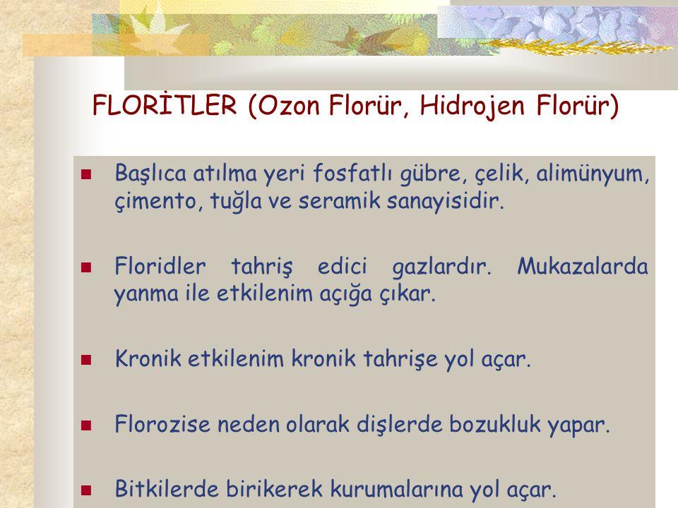 FLORİTLER (Ozon Florür, Hidrojen Florür) Başlıca atılma yeri fosfatlı gübre, çelik, alimünyum, çimento, tuğla ve seramik sanayisidir. Floridler tahriş