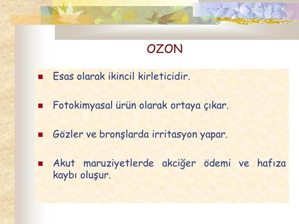 OZON Esas olarak ikincil kirleticidir. Fotokimyasal ürün olarak ortaya çıkar. Gözler ve bronşlarda irritasyon yapar. Akut maruziyetlerde akciğer ödemi