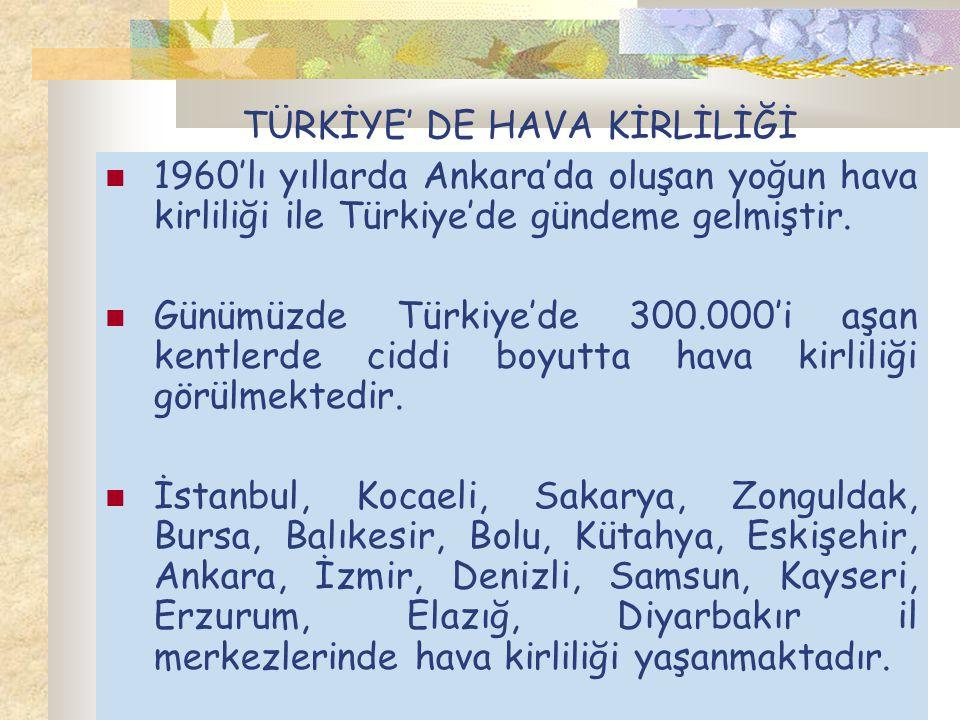 TÜRKİYE' DE HAVA KİRLİLİĞİ 1960'lı yıllarda Ankara'da oluşan yoğun hava kirliliği ile Türkiye'de gündeme gelmiştir. Günümüzde Türkiye'de 300.000'i aşa