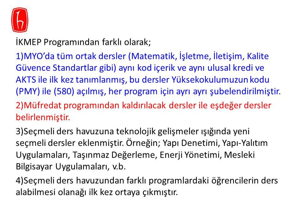İKMEP Programından farklı olarak; 5) Tüm programlarda 60 iş günü zorunlu olan staj, aynı kod ve içerikte 30'ar iş günlük Staj I ve Staj II'ye ayrılmıştır.