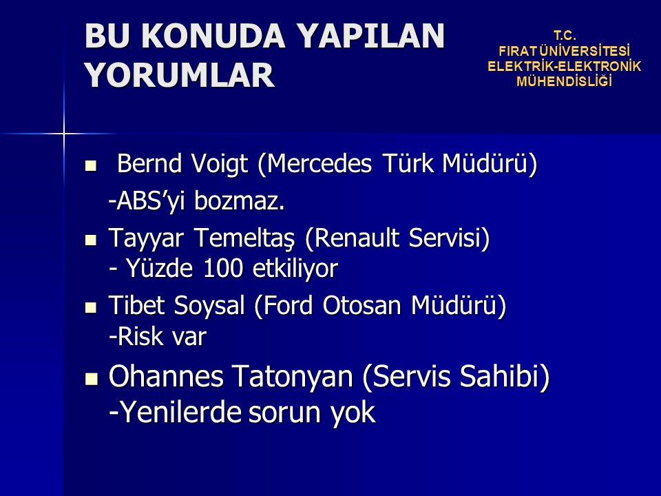 BU KONUDA YAPILAN YORUMLAR Bernd Voigt (Mercedes Türk Müdürü) Bernd Voigt (Mercedes Türk Müdürü) -ABS'yi bozmaz.