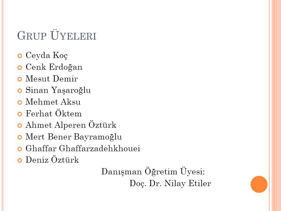G RUP Ü YELERI Ceyda Koç Cenk Erdoğan Mesut Demir Sinan Yaşaroğlu Mehmet Aksu Ferhat Öktem Ahmet Alperen Öztürk Mert Bener Bayramoğlu Ghaffar Ghaffarz