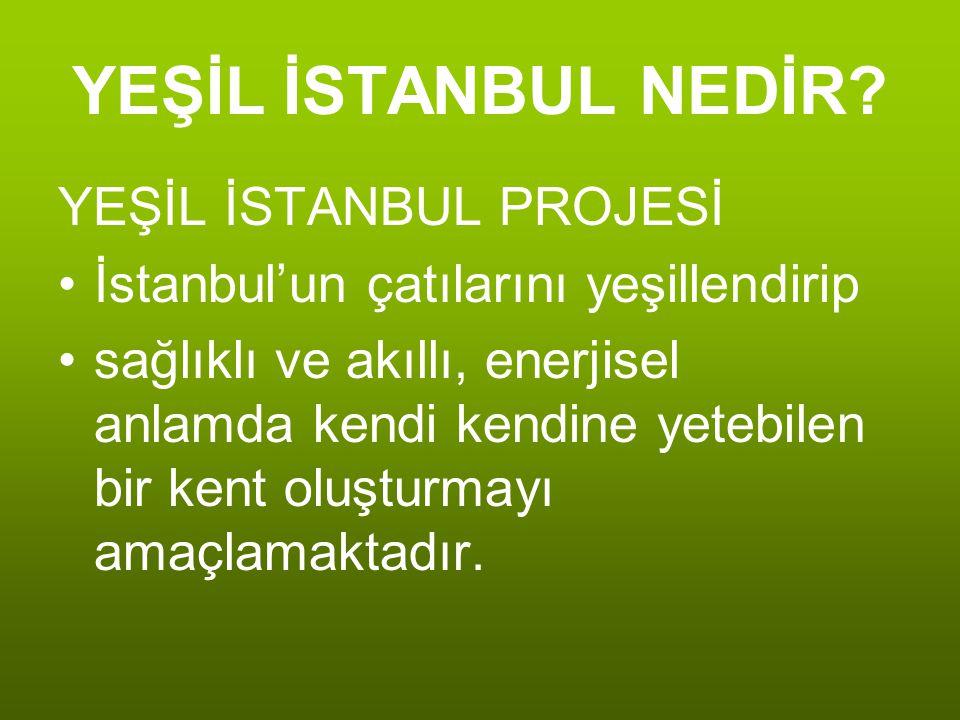 YEŞİL İSTANBUL NEDİR? YEŞİL İSTANBUL PROJESİ İstanbul'un çatılarını yeşillendirip sağlıklı ve akıllı, enerjisel anlamda kendi kendine yetebilen bir ke