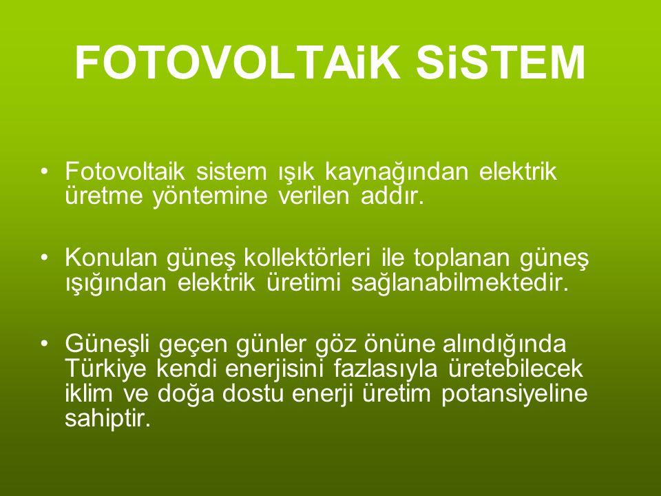 FOTOVOLTAiK SiSTEM Fotovoltaik sistem ışık kaynağından elektrik üretme yöntemine verilen addır.