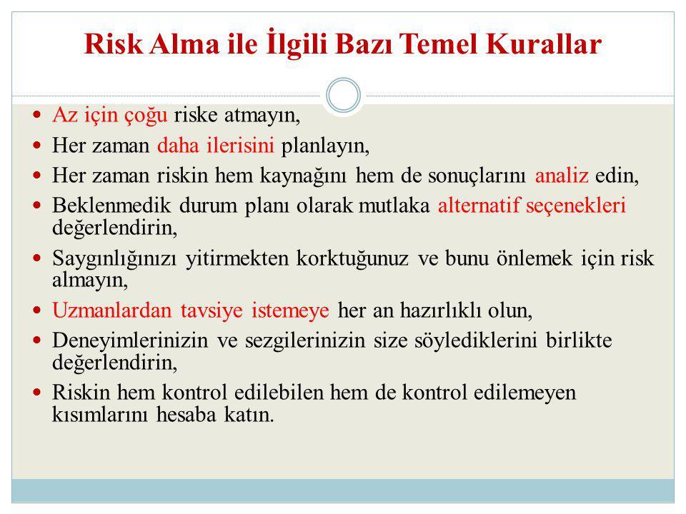 Risk Alma ile İlgili Bazı Temel Kurallar Az için çoğu riske atmayın, Her zaman daha ilerisini planlayın, Her zaman riskin hem kaynağını hem de sonuçla