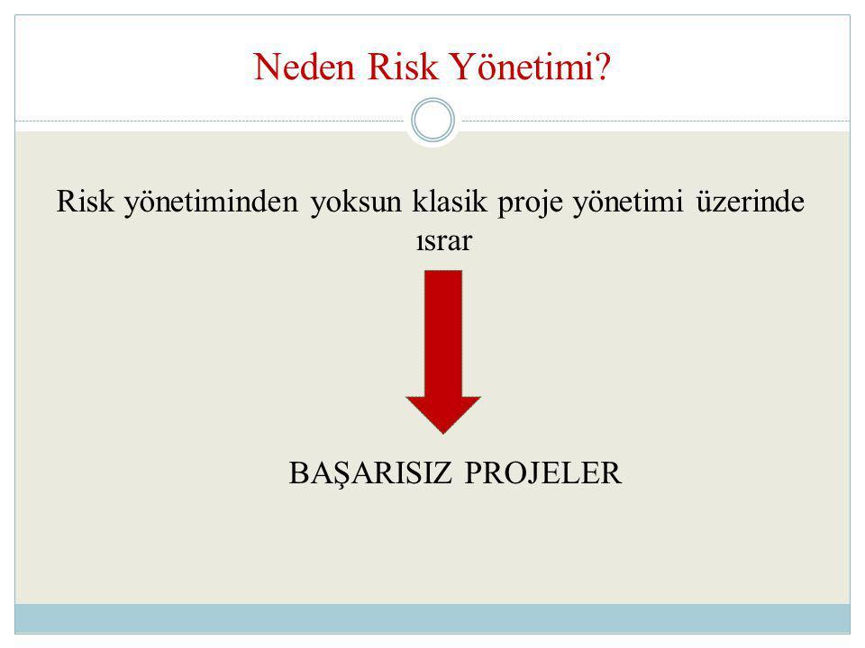 Neden Risk Yönetimi? Risk yönetiminden yoksun klasik proje yönetimi üzerinde ısrar BAŞARISIZ PROJELER