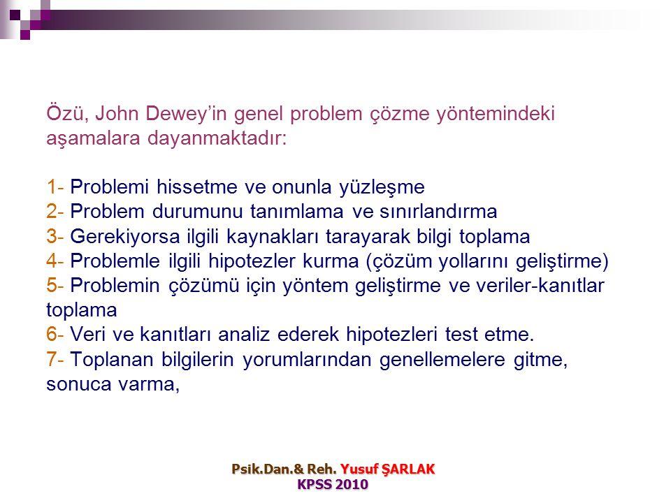 Özü, John Dewey'in genel problem çözme yöntemindeki aşamalara dayanmaktadır: 1- Problemi hissetme ve onunla yüzleşme 2- Problem durumunu tanımlama ve