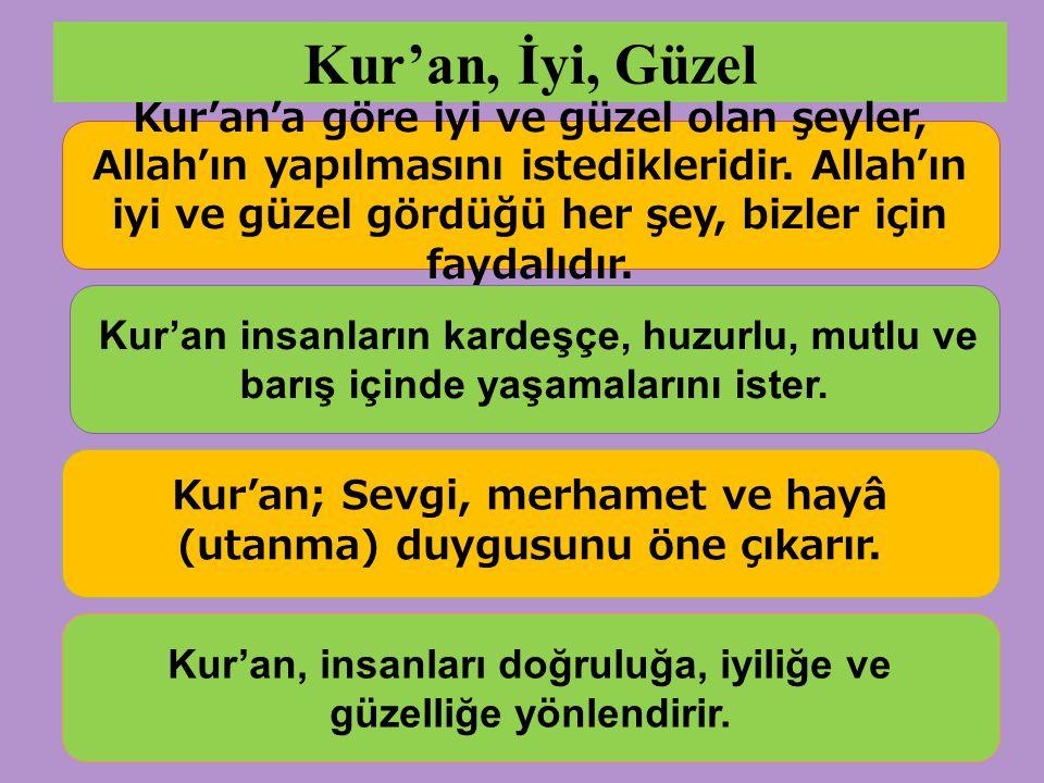 Kur'an, İyi, Güzel Kur'an'a göre iyi ve güzel olan şeyler, Allah'ın yapılmasını istedikleridir.