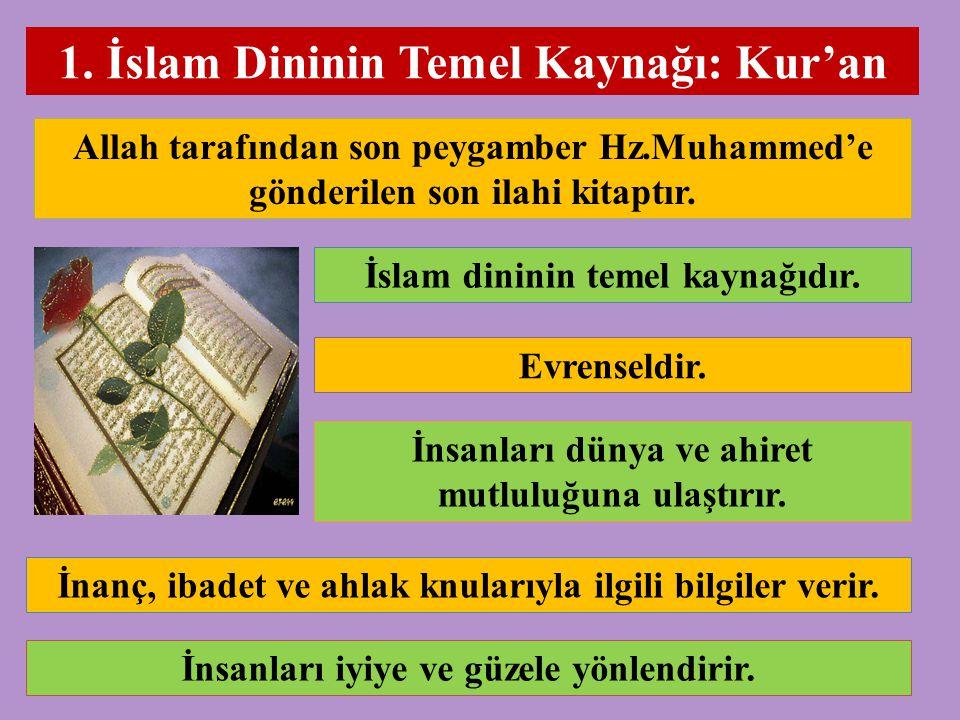 1. İslam Dininin Temel Kaynağı: Kur'an Allah tarafından son peygamber Hz.Muhammed'e gönderilen son ilahi kitaptır. İslam dininin temel kaynağıdır. Evr