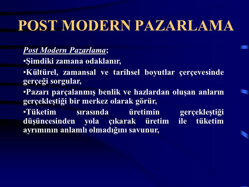 Post Modern Pazarlama; Şimdiki zamana odaklanır, Kültürel, zamansal ve tarihsel boyutlar çerçevesinde gerçeği sorgular, Pazarı parçalanmış benlik ve h
