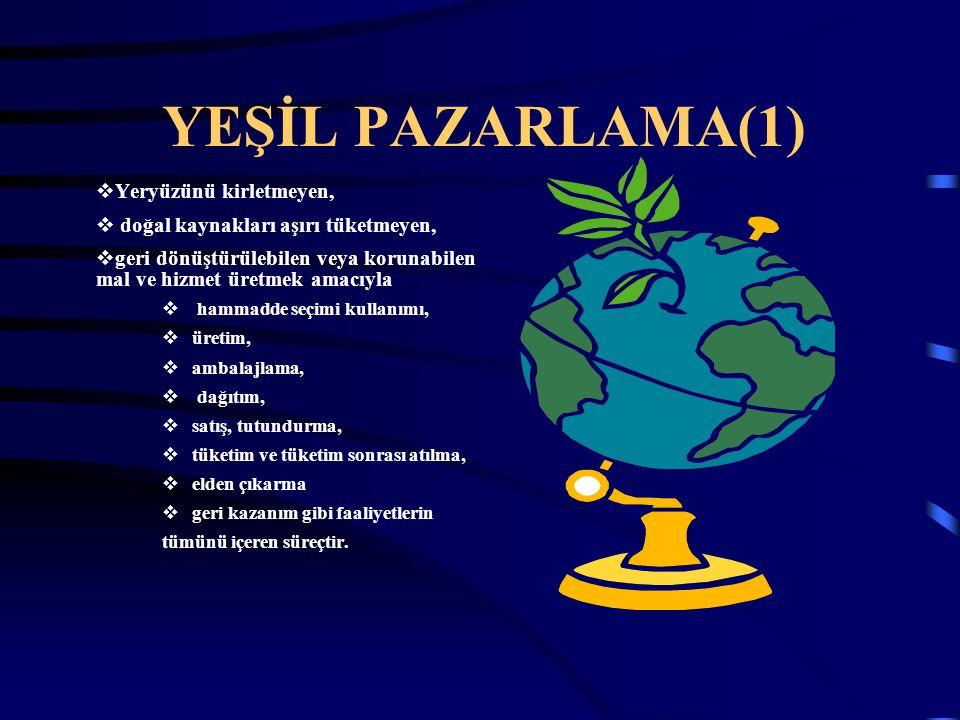 YEŞİL PAZARLAMA(1)  Yeryüzünü kirletmeyen,  doğal kaynakları aşırı tüketmeyen,  geri dönüştürülebilen veya korunabilen mal ve hizmet üretmek amacıy